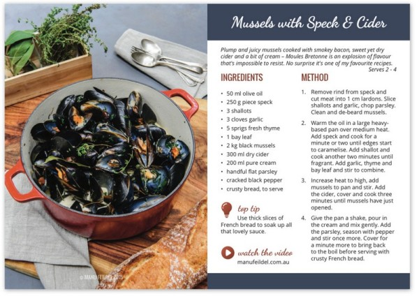 Mussels with Speck & Cider - Recipe Card